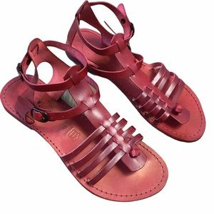 100% Leather Oxblood Red Gladiator Sandals EU 40